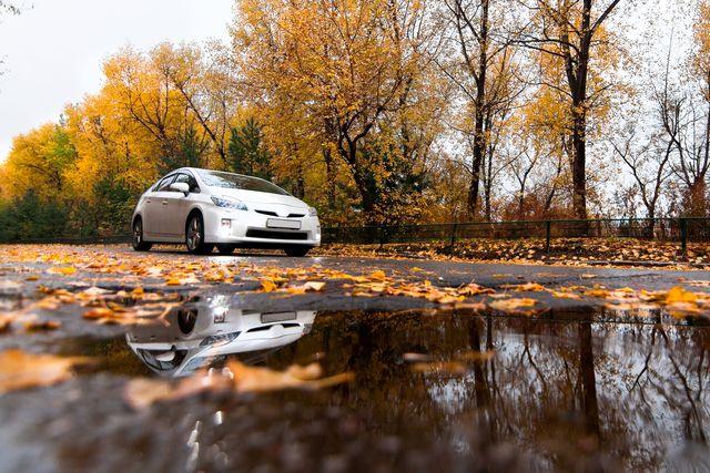 toyota prius on autumn road in rainy day