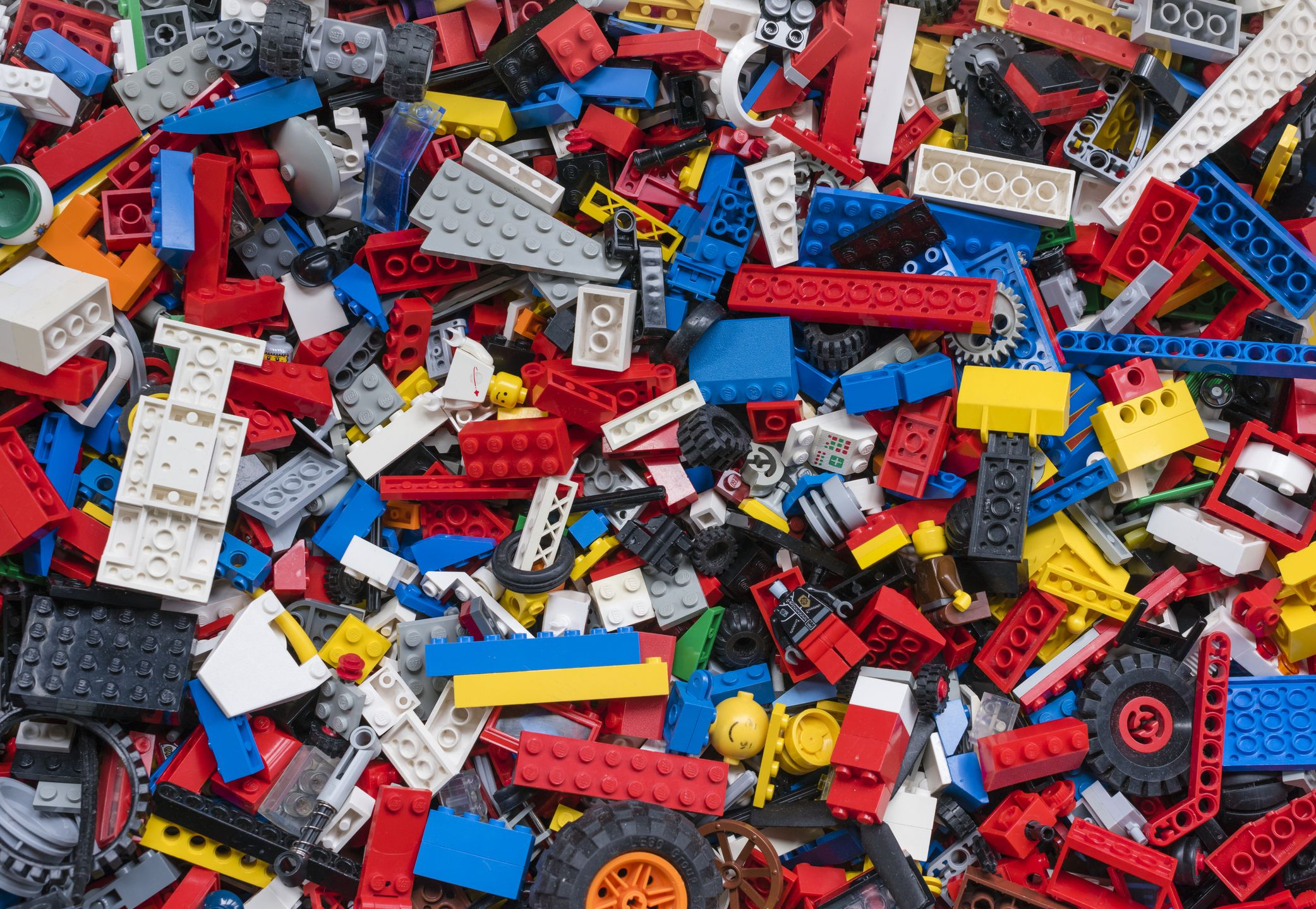 Cluttered Pile Of Many Colourful Lego Bricks