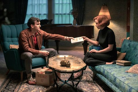the queen's gambit l to r harry melling as harry beltik and anya taylor joy as beth harmon in episode 104 of the queen's gambit cr phil braynetflix © 2020