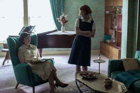 the queen's gambit l to r marielle heller as alma wheatley and anya taylor joy as beth harmon in episode 102 of the queen's gambit cr phil braynetflix © 2020