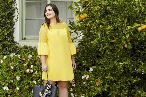 Clothing, Yellow, Street fashion, Fashion, Shoulder, Dress, Outerwear, Footwear, Spring, Plant,