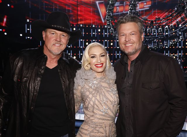 the voice    live semi final results episode 1719b     pictured l r trace adkins, gwen stefani, blake shelton    photo by trae pattonnbcnbcu photo bank via getty images