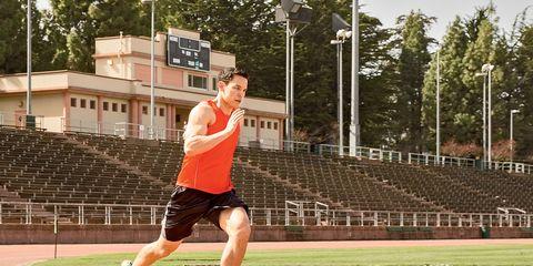 Man Running on School Track