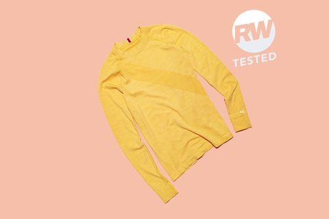 Yellow, Clothing, Sleeve, Outerwear, Font, T-shirt, Jacket, Logo,