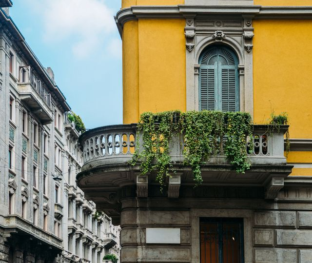 traditional architecture in turn of the 20th century art nouveau style at milan's porta venezia district, lombardy, italy