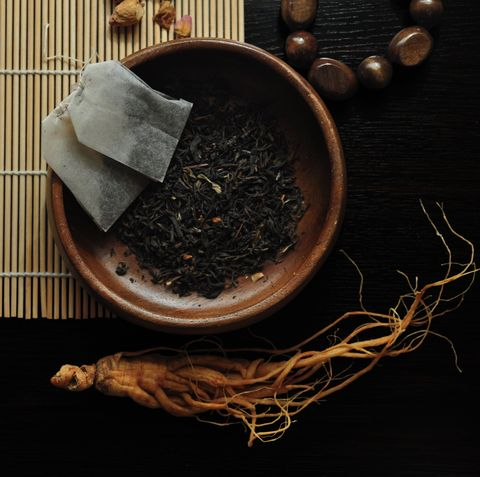 Traditional herbal medicines in black background