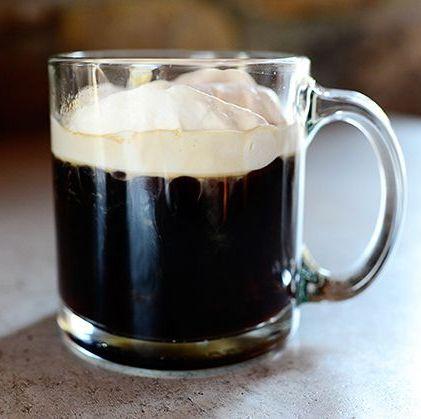 irish coffee in clear mug