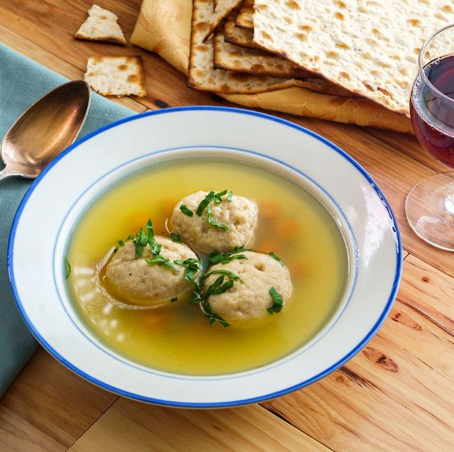 matzoh ball soup with crackers and wine