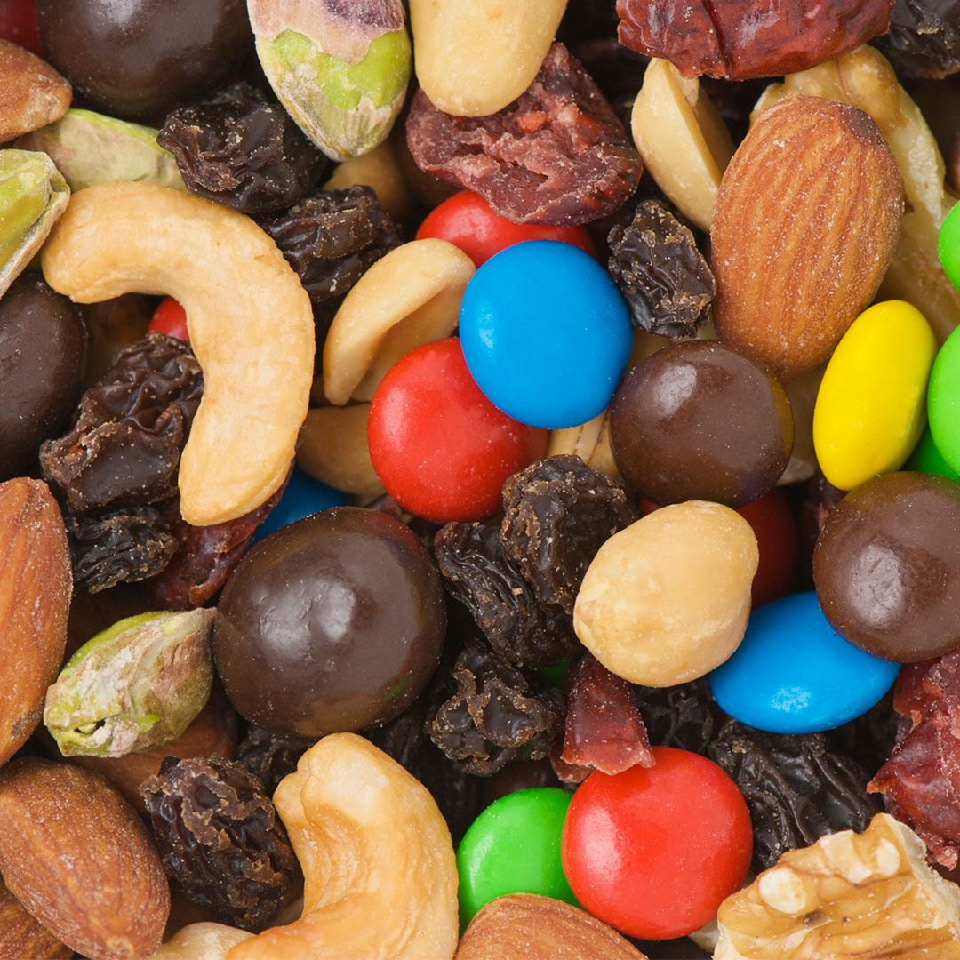Pre-made trail mix Go nuts for nuts—just not all the other ingredients in most pre-made trail mixes, like dried and sweetened cranberries and high-sugar milk chocolate. Many store-bought mixes also pack in added sugars, salts, and oils, adds Moskovitz.