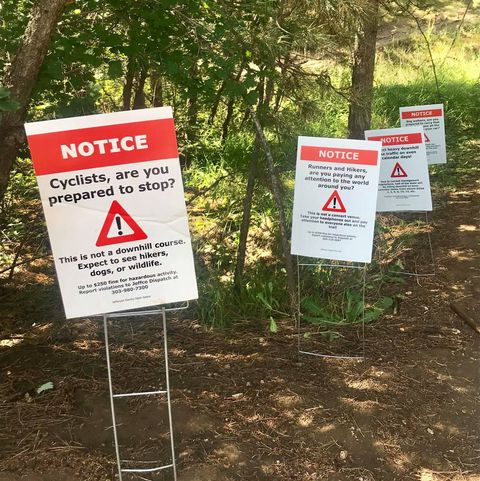 Snarky Signs Call Out Unfairness on a Mixed-Use Colorado Trail