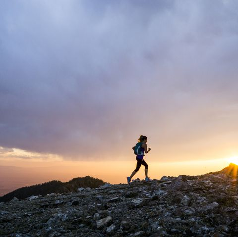 trail running at sunset