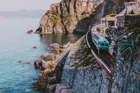 train in coastline in Manarola,Cinque Terre,Italy
