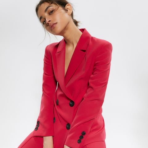 Clothing, Suit, Outerwear, Red, Blazer, Formal wear, Pink, Pantsuit, Button, Jacket,