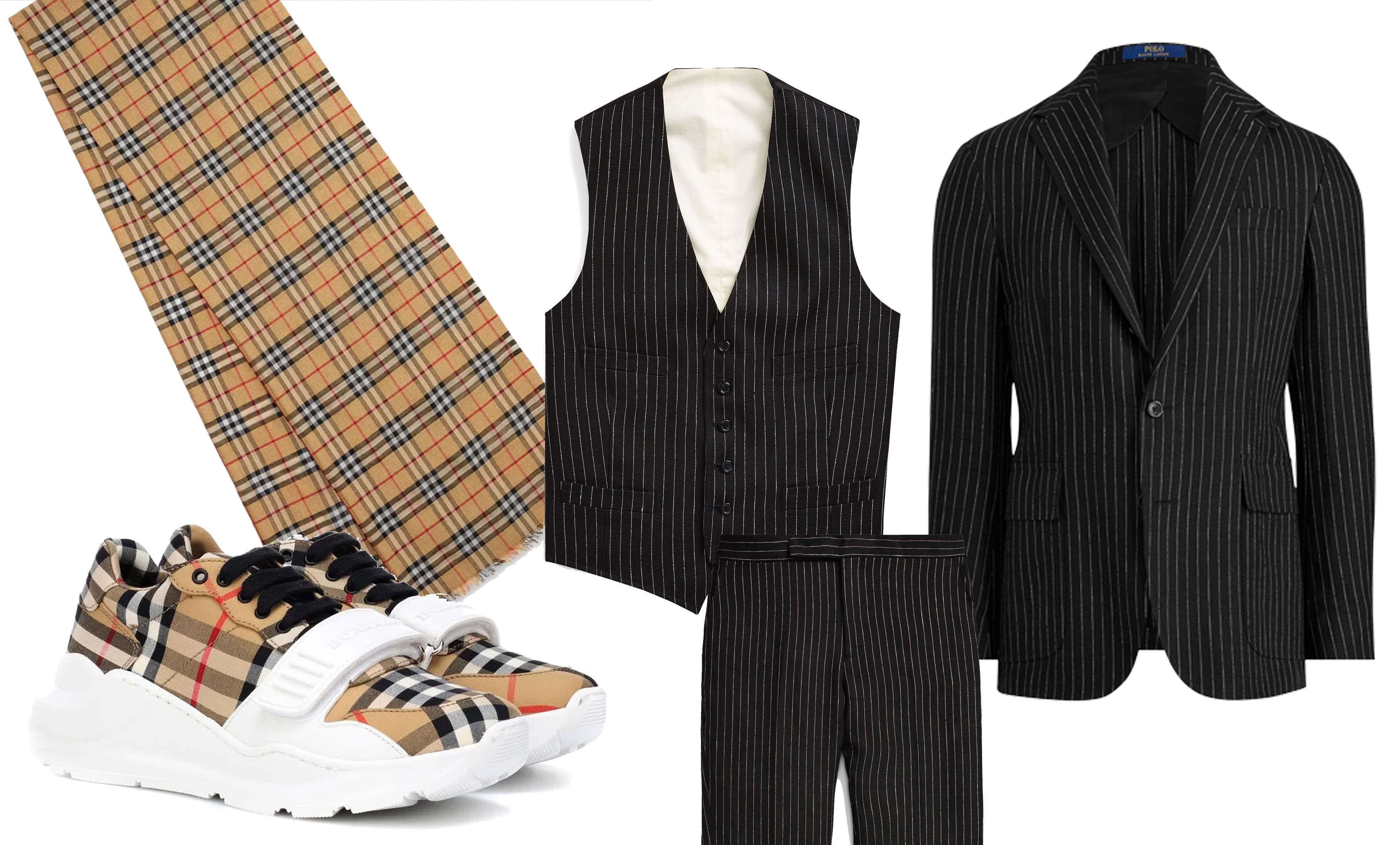 traje de rayas con chaleco y prendas de cuadros