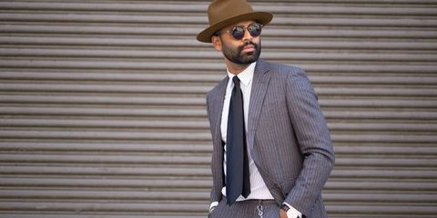 Suit, Clothing, Blazer, Hat, Fedora, Outerwear, Fashion, Street fashion, Dress shirt, White-collar worker,