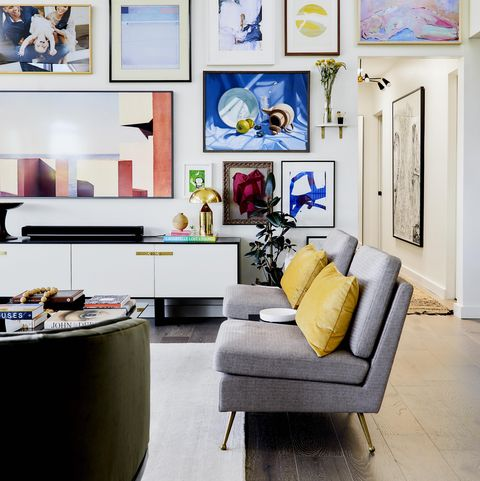 Living room, Room, Interior design, Furniture, Yellow, Blue, Property, Wall, Home, Floor,