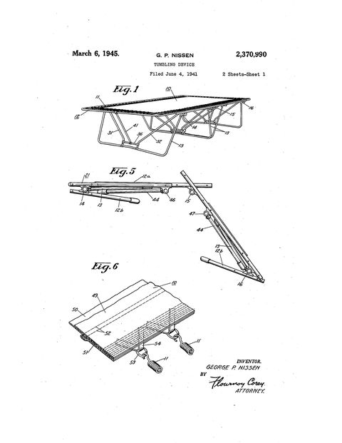 the patent for the trampoline filed in 1945