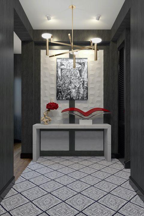 Floor, Flooring, Interior design, Room, Ceiling fixture, Light fixture, Tile, Ceiling, Wall, Interior design,
