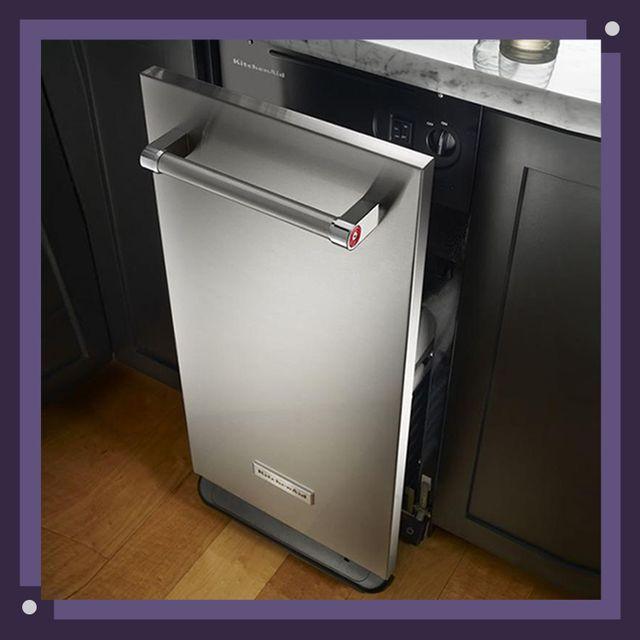 GE and KitchenAid trash compactors in kitchens