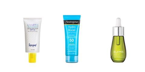 Supergoop sunscreen Neutrogena sunscreen elemis face oil