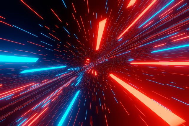 traveling in space at super speeds, the effect of motion blur futuristic abstract background visualization 3d rendering