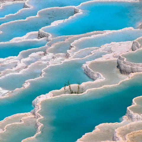 travertine terrace formations, pamukkale, denizli province, aegean region, turkey