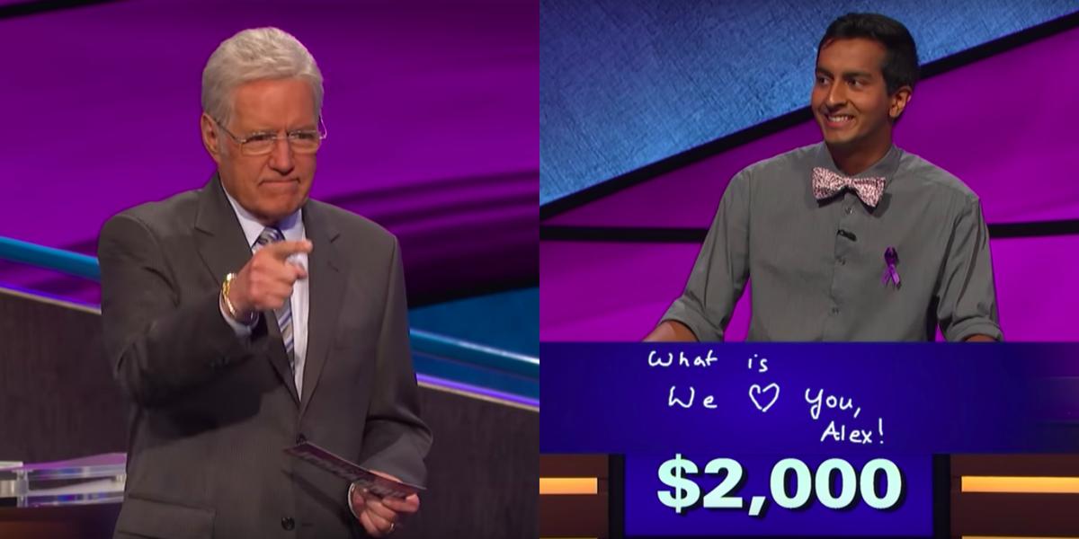 "Watch Alex Trebek Fight Back Tears After Contestant's Heartfelt Message on ""Final Jeopardy!"""
