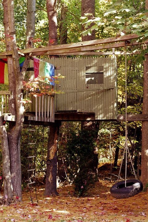 Treehouse in backyard with swing, autumn