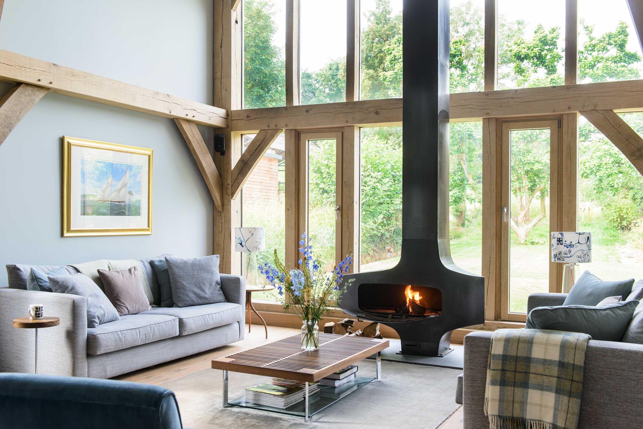 An Asymmetrical Wood Stove In A Home