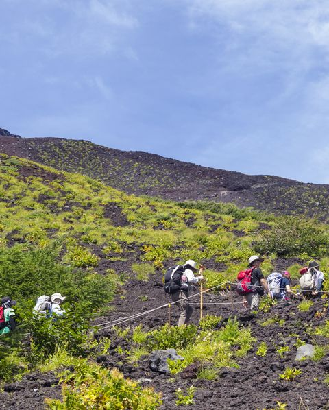 Trekking at 2600 m on Moun Fuji at Fujinomiya trail