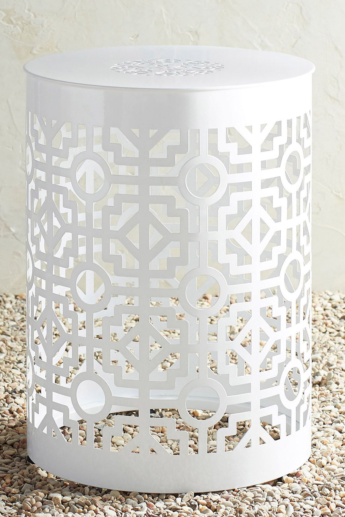 White Trellis Garden Table