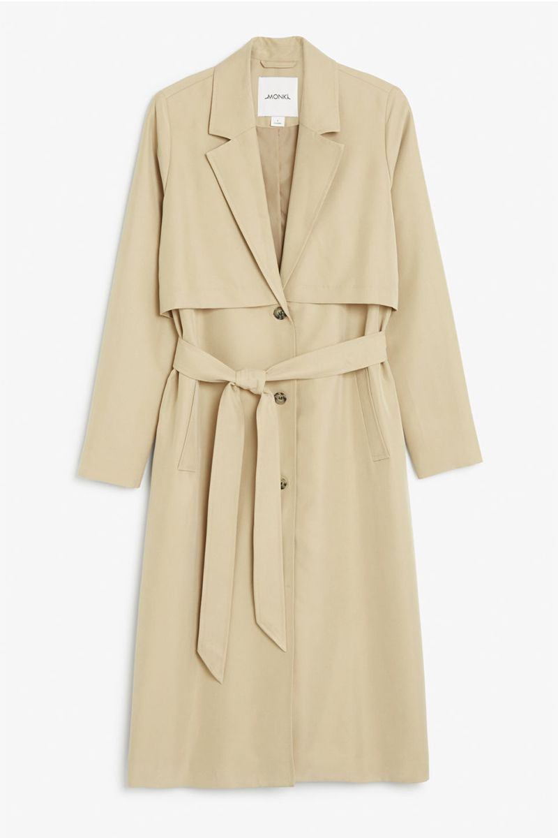 Monki beige long trench coat