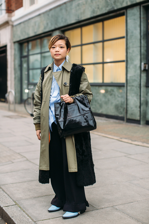 Street fashion, Photograph, Clothing, Snapshot, Fashion, Coat, Standing, Outerwear, Blazer, Footwear,