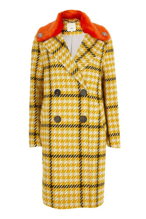 River Island Yellow check faux fur collar coat