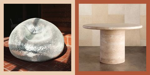 disco chair by rachel shillander for the future perfect and travertine table by kelly wearstler