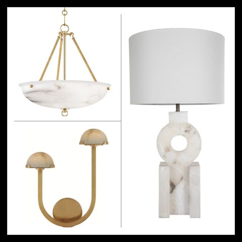 hanging pendant by mark d sikes for hudson valley lighting, sconce by kelly wearstler for visual comfort and table lamp by gabby lighting