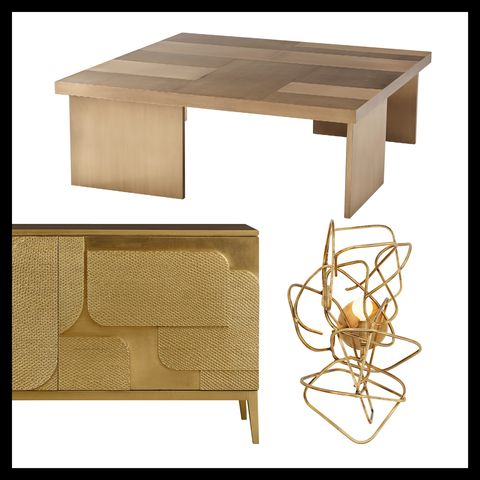 sideboard by baker, coffee table by theodore alexander and light fixture by arteriors
