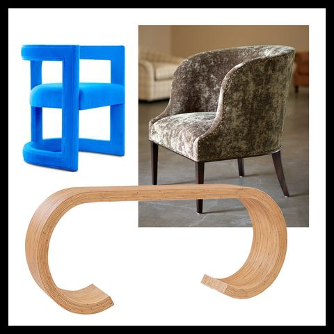 chair by nathan anthony, chair by lee industries and console by universal