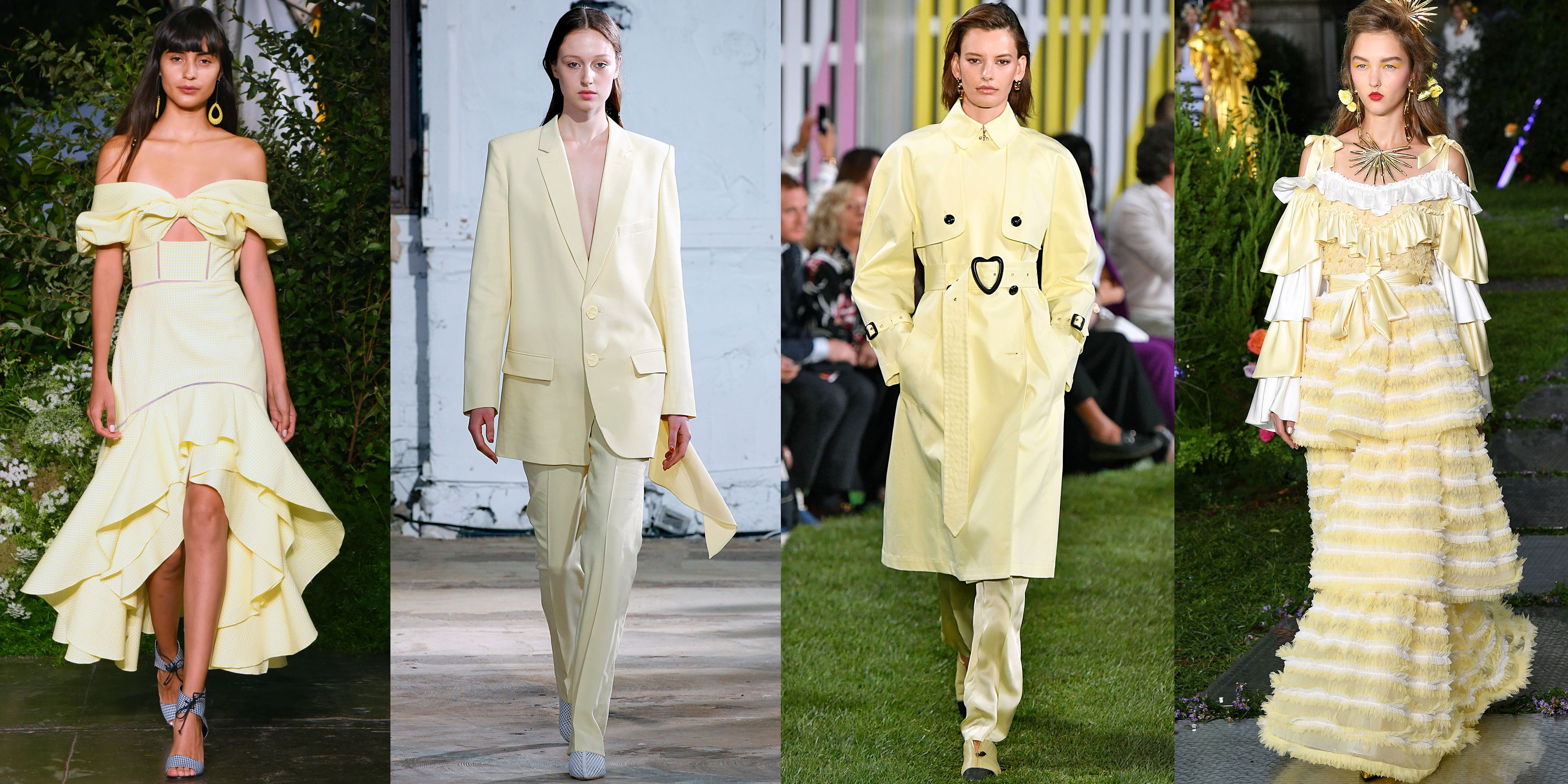 Egg-Yolk Yellow As seen at Jonathan Simkhai, Tibi, Escada, Rodarte Millennial pink and lavender had their moments, but the color of spring 2019 is egg-yolk yellow. The sunny pastel shade popped up all over the New York Fashion Week runways, batting away any rainy day blues guests might have felt.