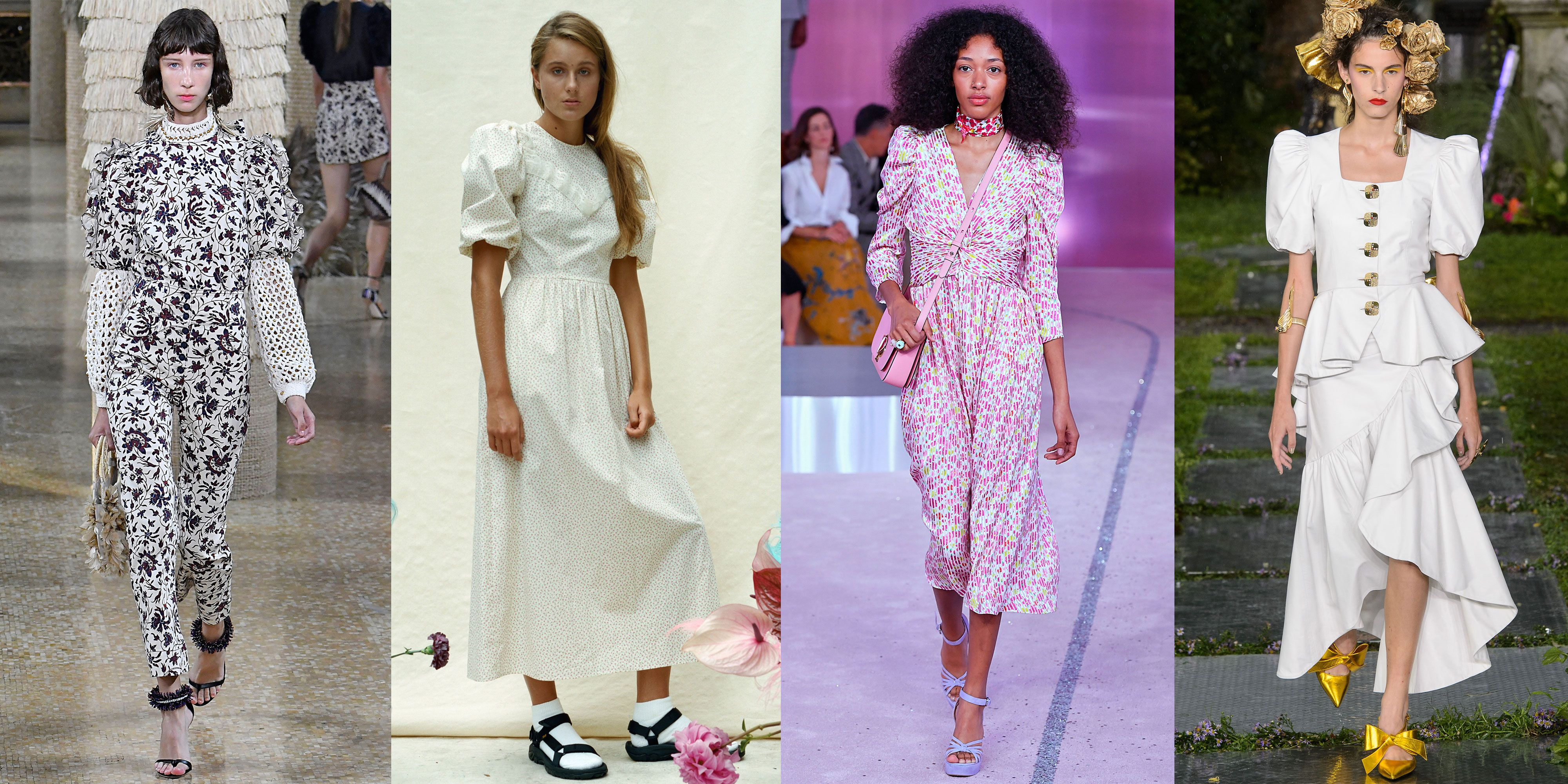 Puffy Sleeves As seen at Ulla Johnson, Sandy Liang, Kate Spade, Rodarte This '80s style was a can't-miss look in designer shows and presentations. Ulla Johnson added puffy sleeves into her jumpsuits, while Nicola Glass brought the trend, via a floral dress, into her first collection for Kate Spade .