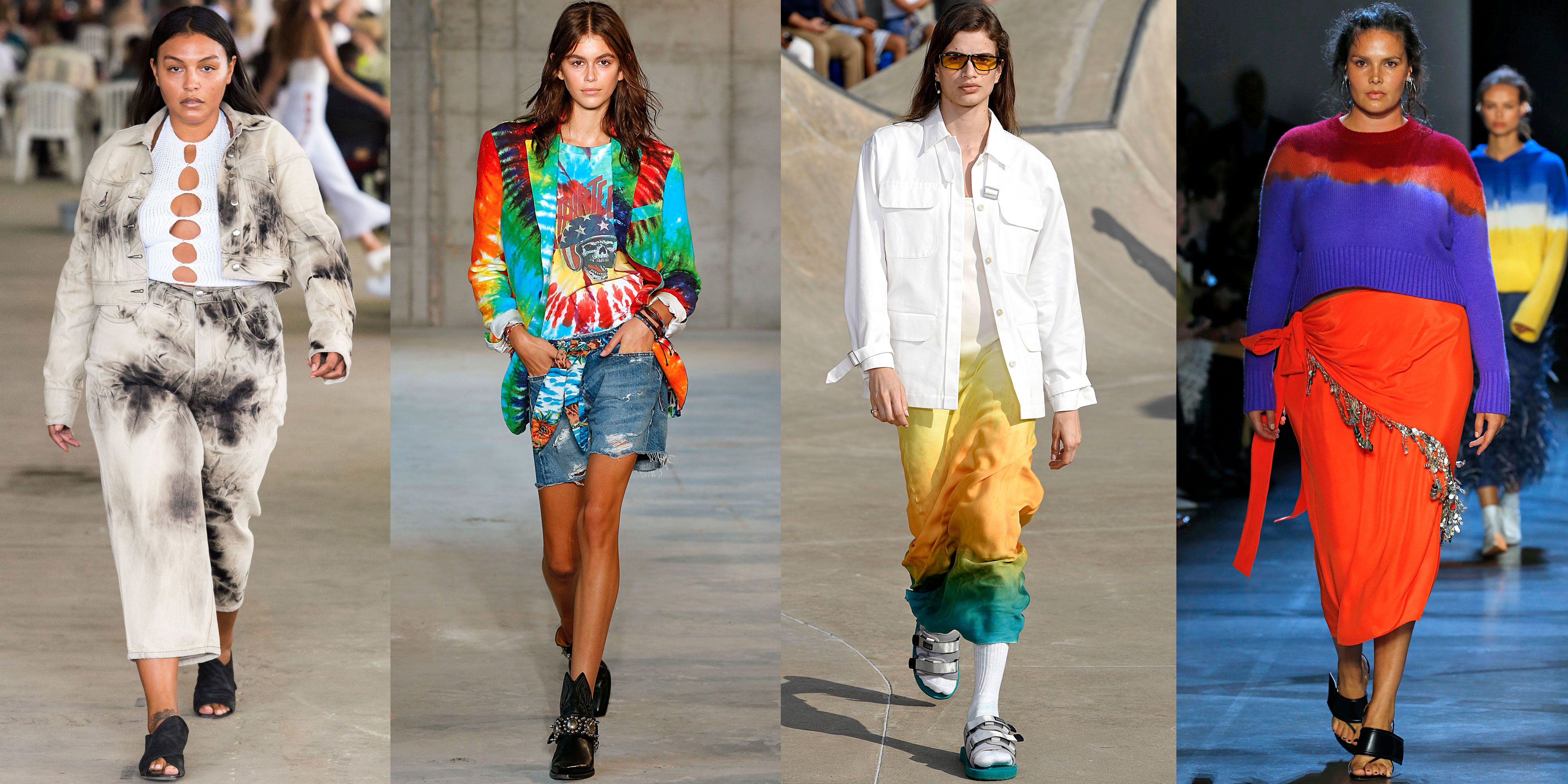 Tie Dye As seen at Eckhaus Latta, R13, John Elliott , Prabal Gurung I never thought the tie-dye look was for me, but after the Spring 2019 runway shows, I'm caving and getting myself a funky, colorful top. Designers tapped into their groovy sides, sending tie-dye tops, jackets, and pants down the NYFW runways.