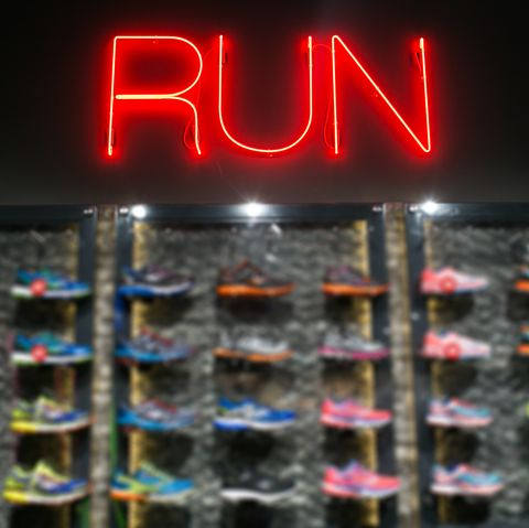 Trendy casual running shoes on dark background