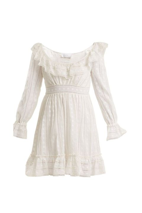 Clothing, White, Dress, Sleeve, Lace, Day dress, Beige, Shoulder, Cocktail dress, Blouse,