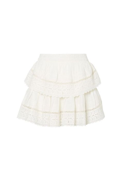 White, Clothing, Beige, Ruffle, Pattern, A-line,