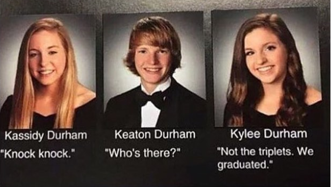 triplets yearbook quote