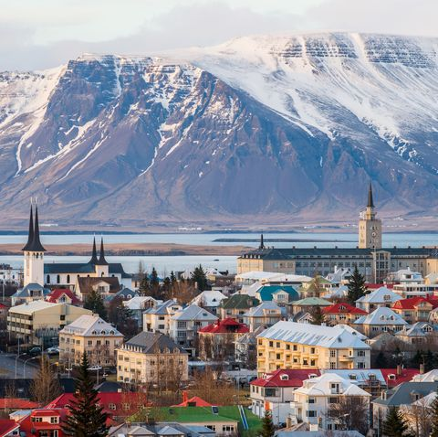 Reykjavik the capital cities of Iceland during the end of winter season.