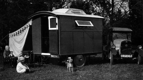 1924 trojan with 1927 lady nimble caravan creator unknown