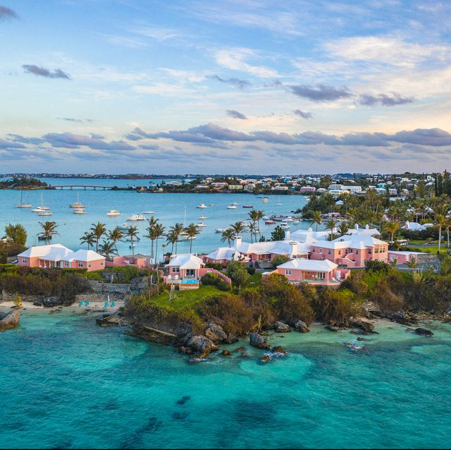 a tropical island with yachts and houses in bermuda
