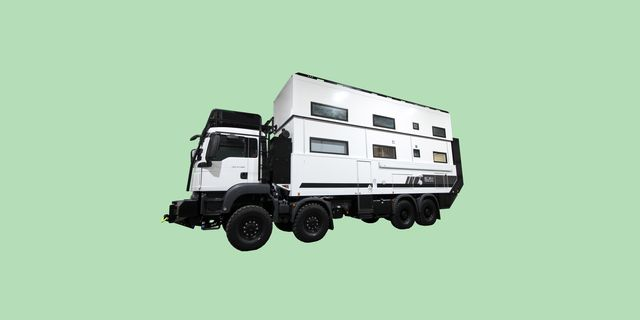 double decker camper with green background