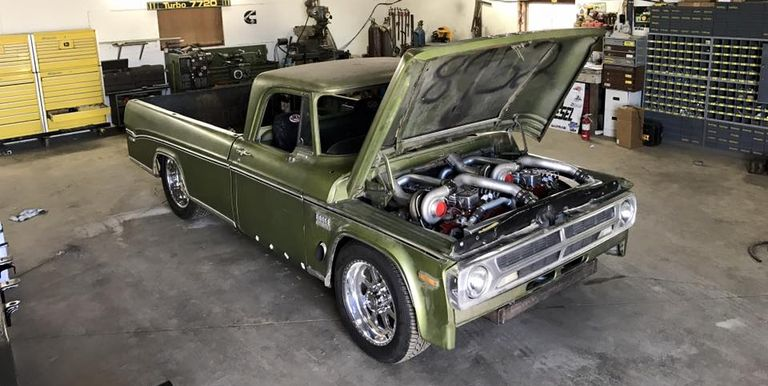 this old dodge truck is a twin engine diesel burnout machine. Black Bedroom Furniture Sets. Home Design Ideas
